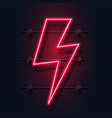 neon bolt realistic signboard electric flash vector image vector image
