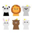 panda bunny rabbit hare lion koala bear cat face vector image vector image