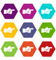pointing hand gesture icon set color hexahedron vector image