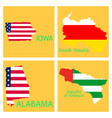 poster map of regions in the world flag print map vector image