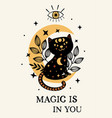 poster with magic eye and black cat on moon vector image vector image