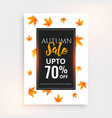 promotional autumn sale flyer design with text vector image