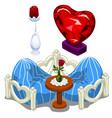 ruhearts furniture table and precious roses vector image vector image