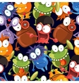 Seamless monsters pattern on black vector image