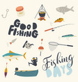 set fishing icons boat rod and net with fish vector image