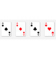 set four aces playing cards vector image