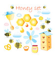 set funny honey and bee pictures isolated on a vector image