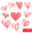 Set of 10 scribbled hand-drawn sketch hearts vector image vector image
