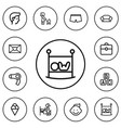 set of 12 editable family outline icons includes vector image vector image
