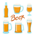 set of beer glass mug barrel bottle and hop craft vector image