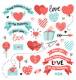 set of elements for valentines day wedding design vector image vector image