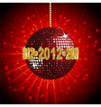 sparkling red disco ball vector image vector image