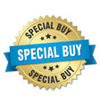 special buy 3d gold badge with blue ribbon vector image vector image