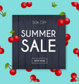 summer sale banner poster flyer cherry on a vector image vector image