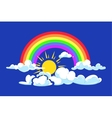 Sun rainbow and clouds deep blue sky vector image