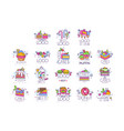 sweets cakes ice cream logos set confectionery vector image vector image