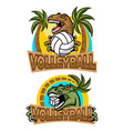 t-rex volleyball player logo vector image