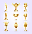 trophy cups set success golden trophy vector image