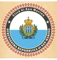 vintage label cards san marino flag vector image vector image