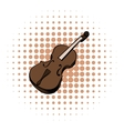 Violin comics icon vector image