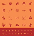 Virtual organization color icons on orange vector image vector image