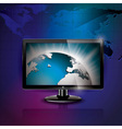with shiny world picture on screen vector image vector image