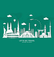 world famous landmark in paper style vector image vector image