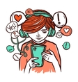 Young Girl In Headphones With Smartphone vector image