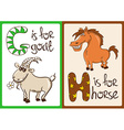 Children Alphabet with Funny Animals Goat and vector image
