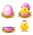 Cartoon funny chicken and pink egg in a nest vector image