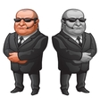 Muscular man in glasses and suit strong bodyguard vector image