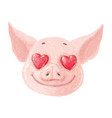 adorable pig character in love cute little piglet vector image vector image