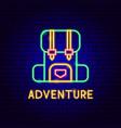adventure neon label vector image