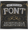 art nouveau label font on a dark background vector image