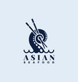 asian seafood logo vector image