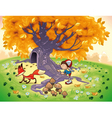 Boy and Fox in the wood vector image vector image