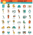 Camping flat line icon set Modern elegant vector image vector image