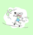 cartoon dog on skateboarding vector image