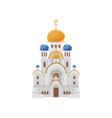 cartoon luxury church with gold and blue domes vector image