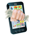 cash fist cell phone concept vector image