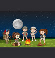 children around a camp fire vector image vector image