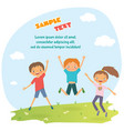 childrens design with happy jumping kids vector image vector image