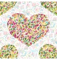 Colorful ornate floral hearts seamless pattern vector image
