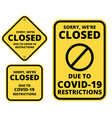 covid19-19 closed sign set vector image vector image