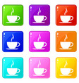 cup of hot drink icons 9 set vector image vector image