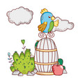 cute animals parrot on with apple nature cartoon vector image