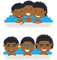 cute frican american cheerful boys relaxing in vector image vector image