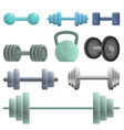 dumbell icons set cartoon style vector image