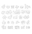 envelope sketch big set hand-drawn character vector image