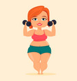 fat woman doing exercises with dumbbells girl vector image